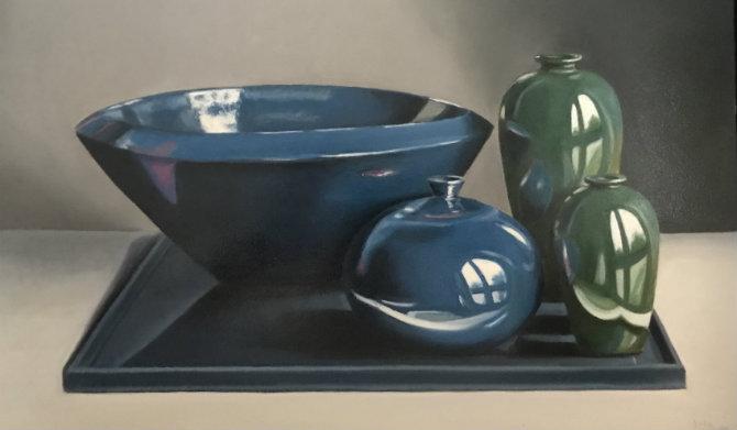 Blauw groene compositie